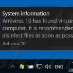 Antivirus 10 displaying fake error pop-ups (sample 2)