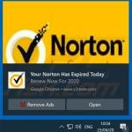 Norton Subscription Has Expired Today pop-up scam promoted via browser notifications (sample 1)