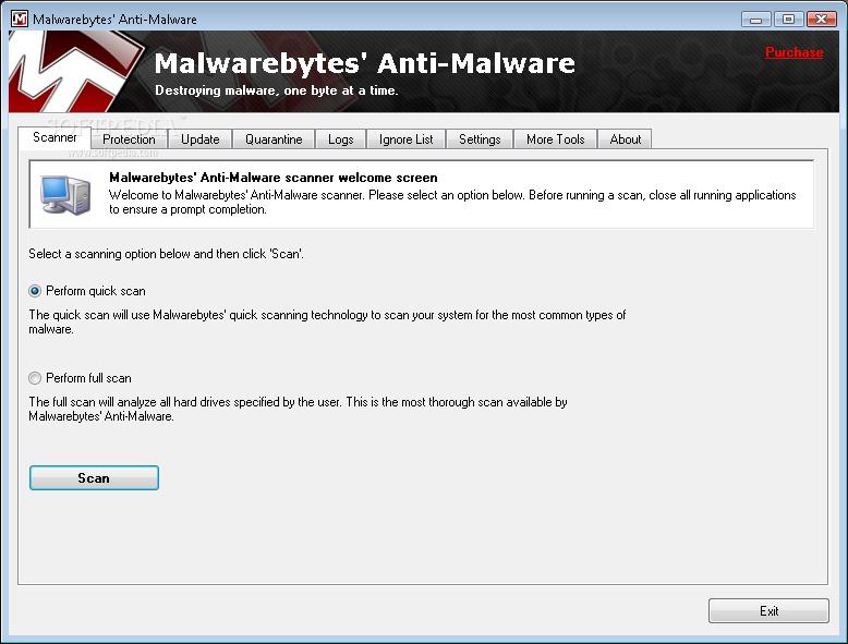 Malwarebytes Anti-Malware 1.51.2 Screenshot.
