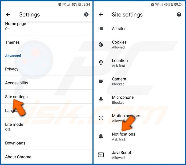 Disabling browser notifications in the Chrome browser in Android operating system (step 2)
