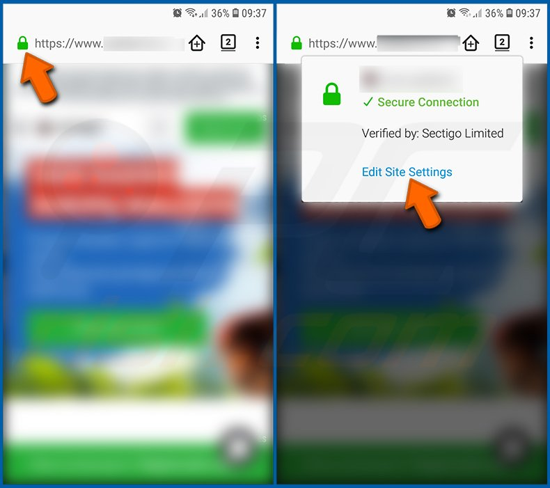Disable browser notifications in the Firefox web browser in the Android operating system (step 1)