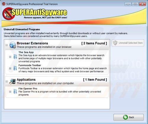 Superantispyware removal of potentially unwanted programs