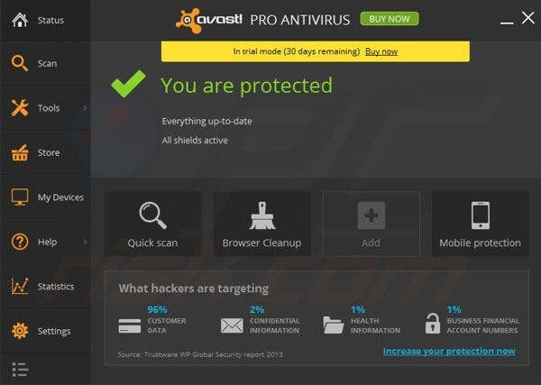 avast! Pro Antivirus 2014 main window