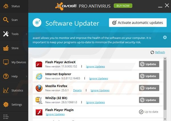 avast! Pro Antivirus 2014 software updater