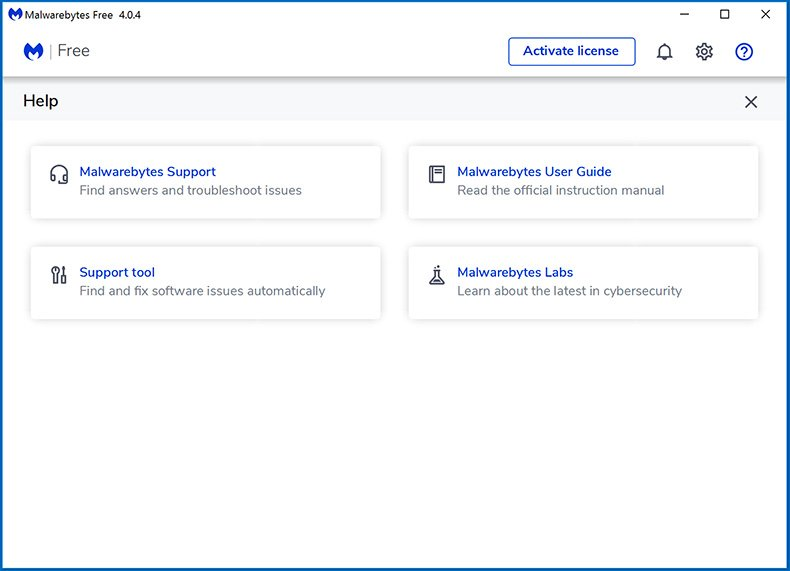Malwarebytes 4.0 Help/Support feature