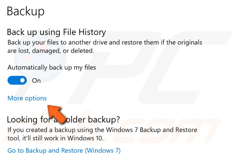 how to remove add backup files windows