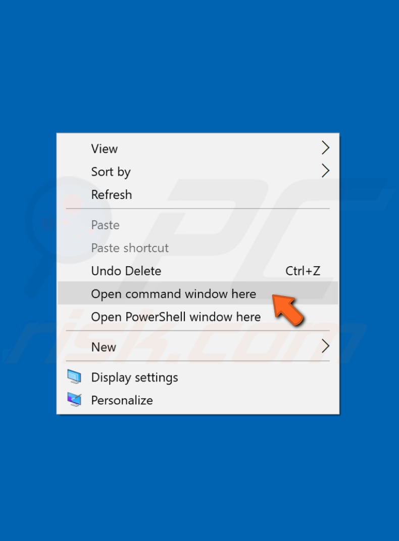 how to bring back open command window here option to the background context menu step 8