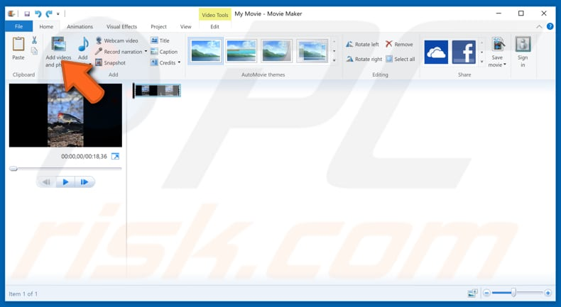 How to rotate a video in windows rotate video with windows movie maker step 2 ccuart Images