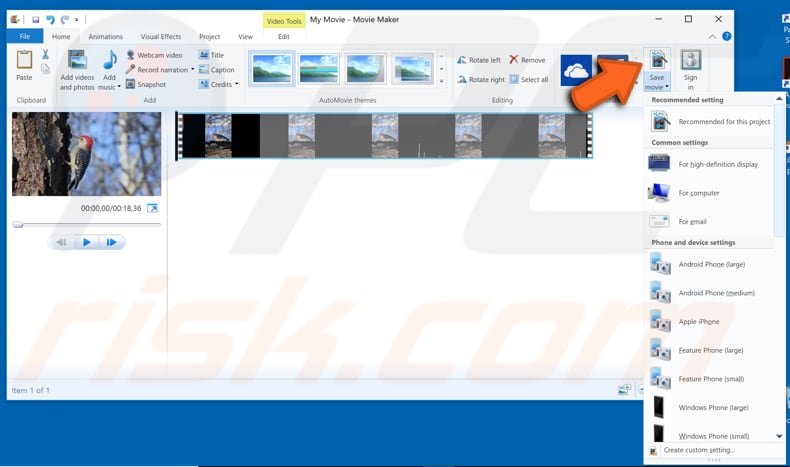 How to rotate a video in windows rotate video with windows movie maker step 4 ccuart Images