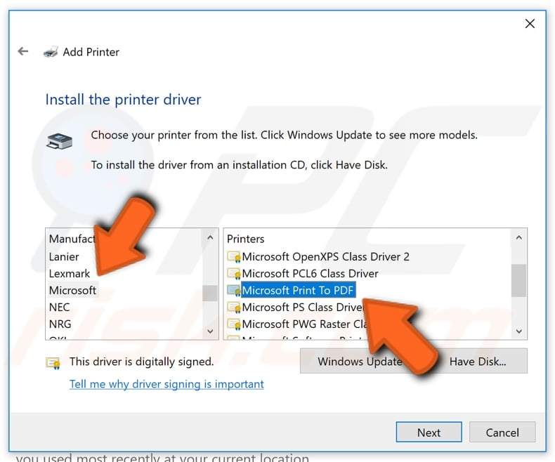 How to manually set up Microsoft print to PDF step 8