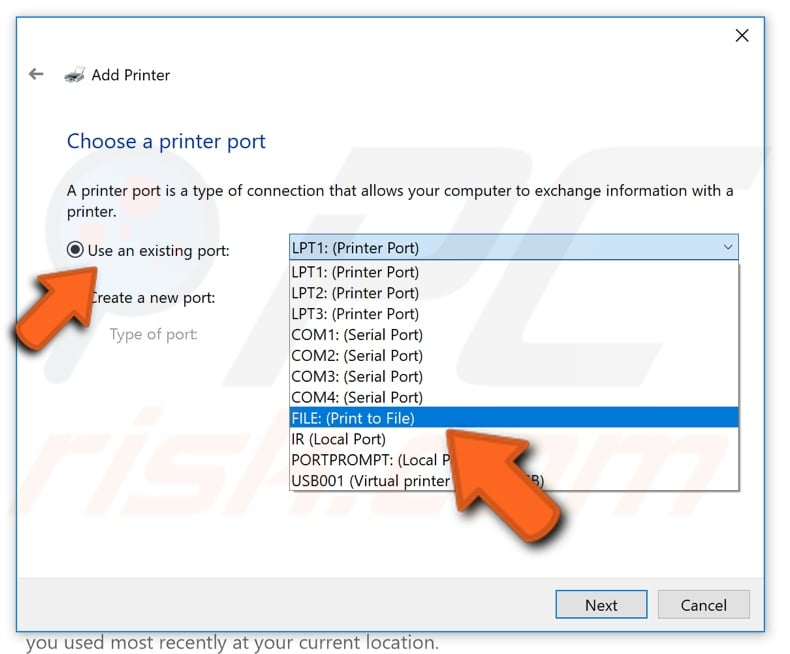 How to manually set up Microsoft print to PDF step 7