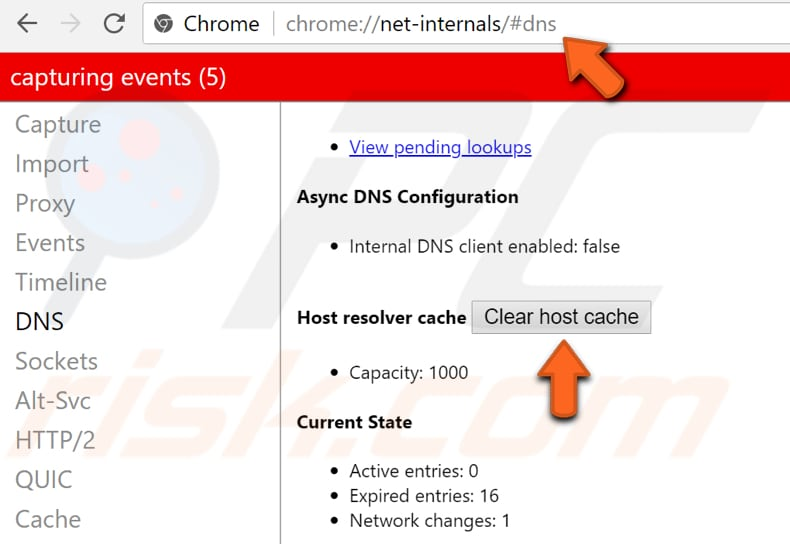 how to clear host cache in chrome