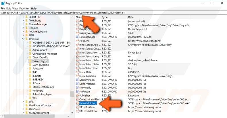 uninstall the application using registry editor and command prompt step 3
