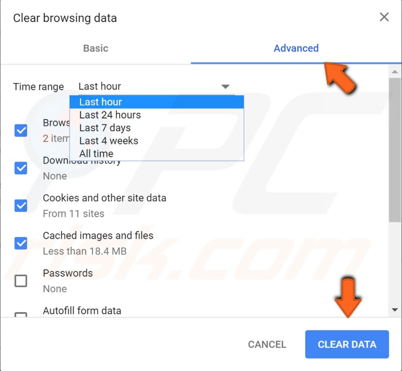 how to clear browsing data google chrome