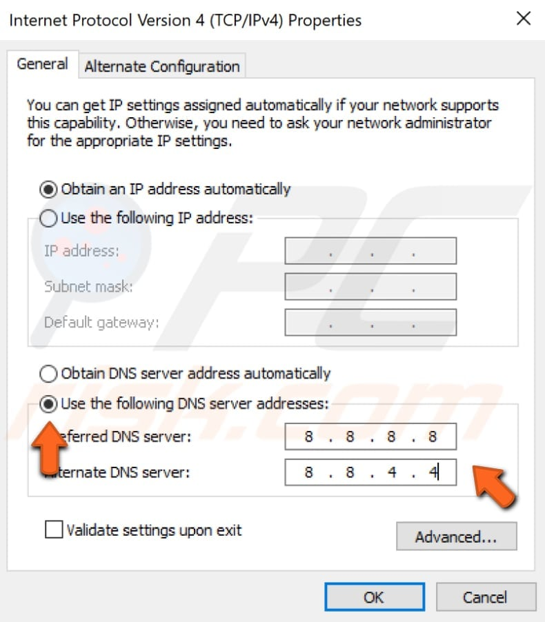 how to change dns server