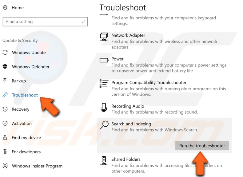 how to fix windows 7 indexing