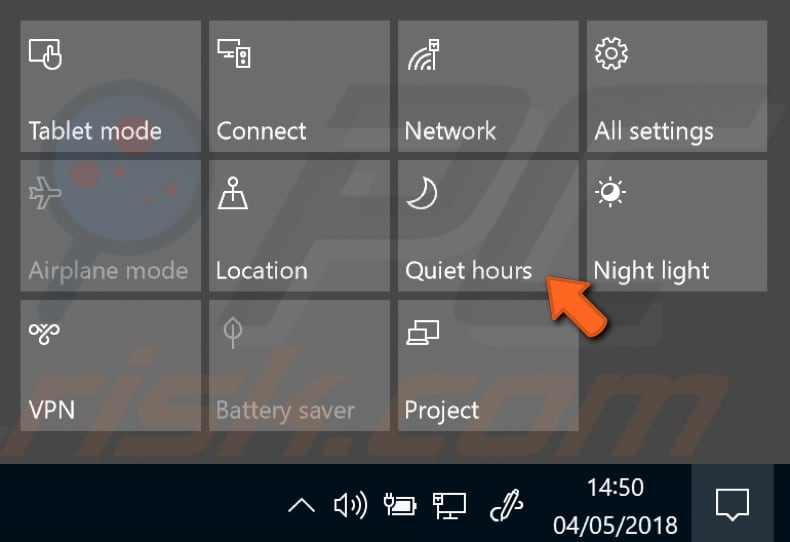 how to change quiet hours windows 10