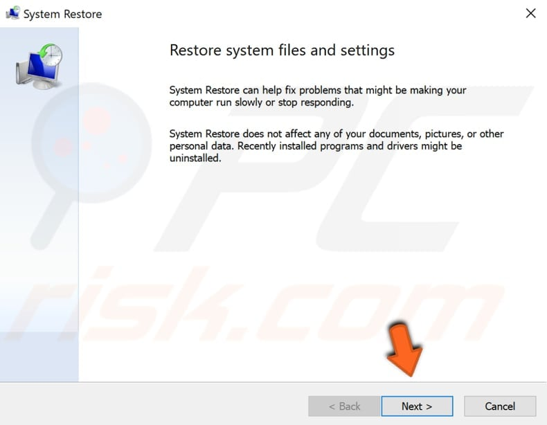 restore your system using restore points step 2