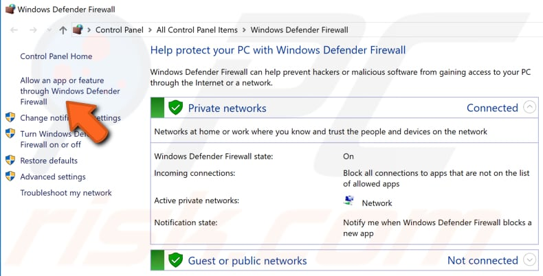 check your firewall settings step 2
