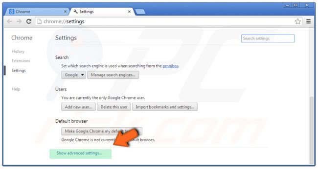 Google Chrome settings reset clicking on advanced settings