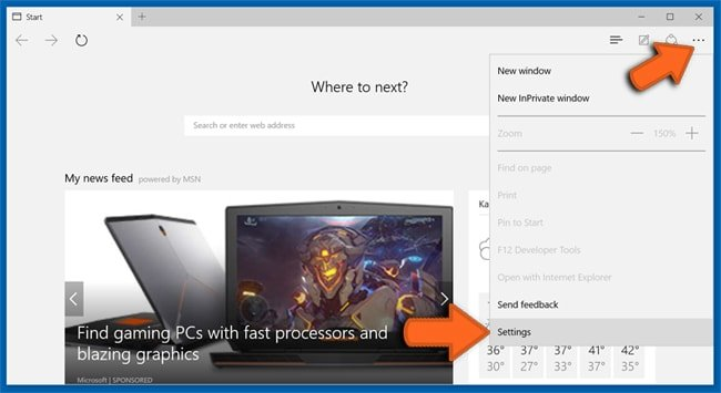 Microsoft Edge browser settings reset step 1
