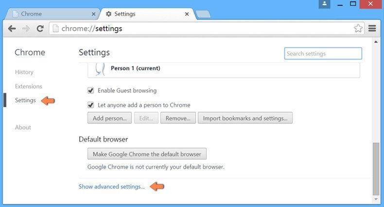 Resetting Google Chrome setting to default - accessing settings
