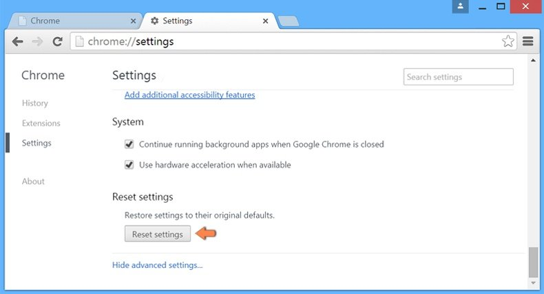 Resetting Google Chrome settings to default - advanced settings