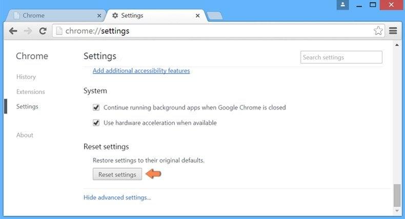 Resetting Google Chrome settings to default - advanced settings