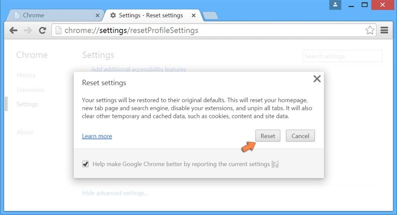 Resetting Google Chrome settings to default - confirm that you want to reset Chrome settings to default by clicking the Reset button