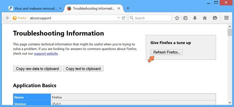 Resetting Mozilla Firefox settings to default - clicking the