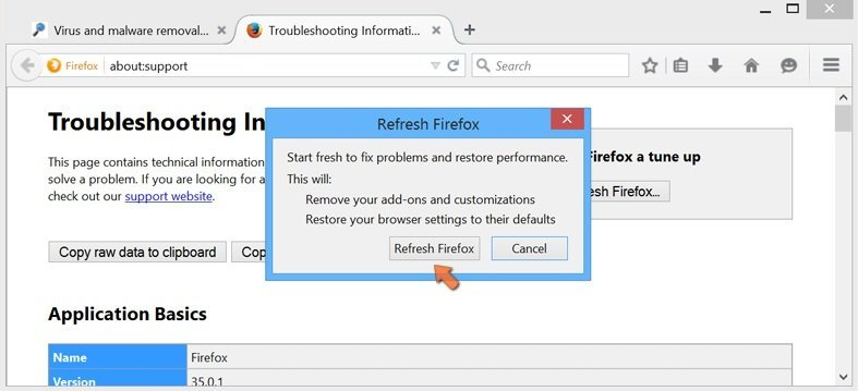 Resetting Mozilla Firefox settings to default - confirming settings reset by clicking the