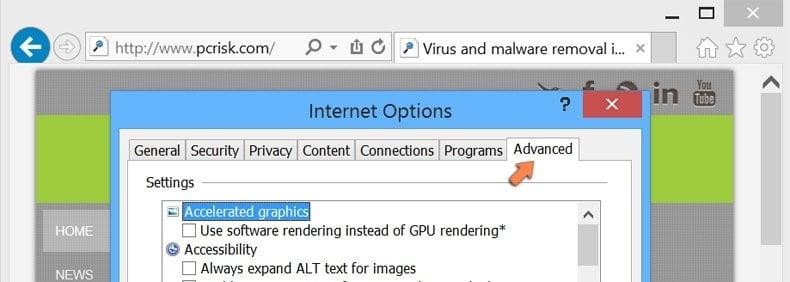 Resetting Internet Explorer settings to default on Windows 8 - Internet options advanced tab