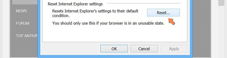 Resetting Internet Explorer settings to default on Windows 8 - click the Reset button in the Internet options advanced tab