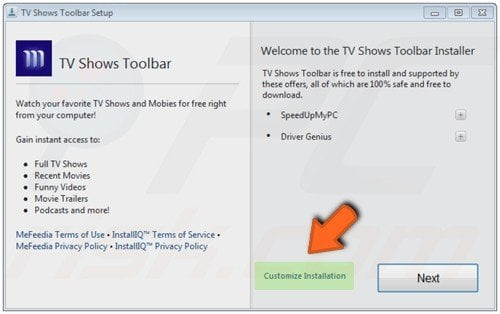 Using custom installation when downloading free software