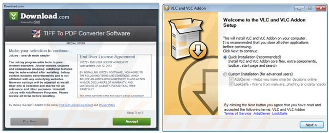 Free software download clients used in adware distribution
