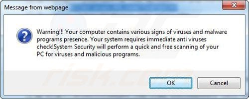Fake pop-up used in rogue antivirus distribution example 2