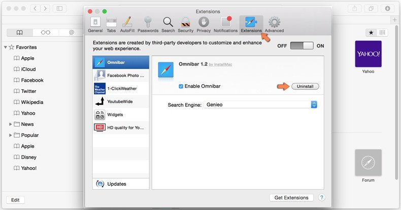 removing browser hijacker from safari step 2 - removing extensions