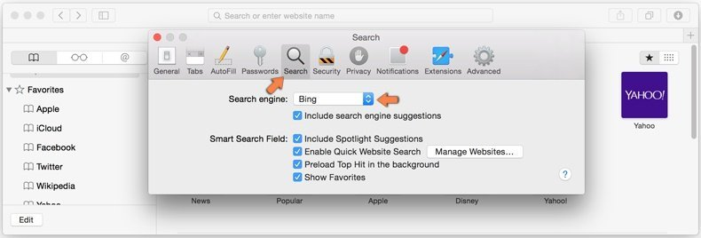 removing browser hijackers from safari step 4 - changing the default Internet search engine