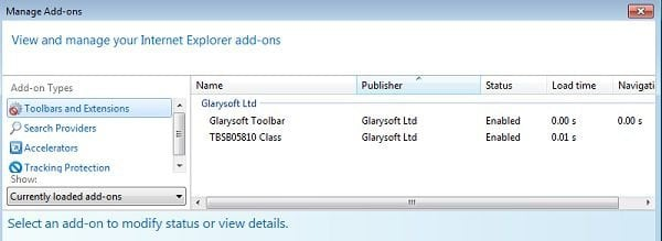 glarysoft toolbar internet explorer