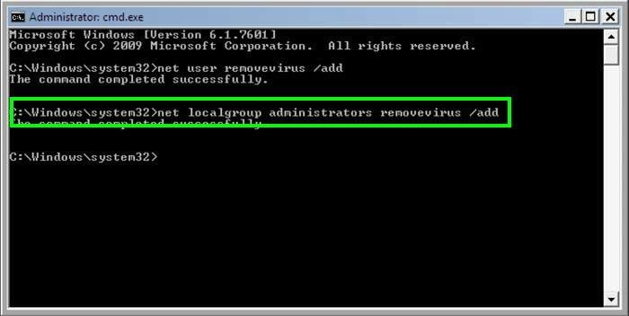 creating new user using command prompt