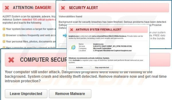 Antivirus System fake security warning messages