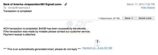 Bank of America fake ACH transfer