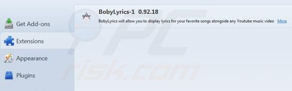 Boby Lyrics removal from Mozilla Firefox