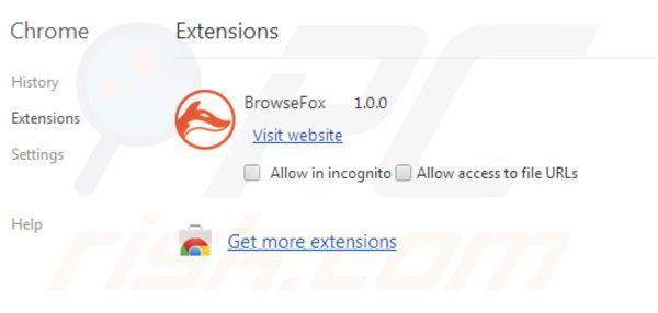 Browsefox removal from Google Chrome