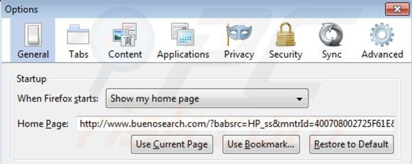 BuenoSearch homepage in Mozilla Firefox