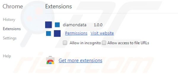Diamondata removal from Google Chrome