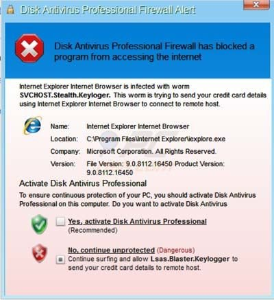 Disk Antivirus Professional fake security warning pop-up