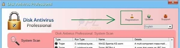 Disk Antivirus Professional removal using a retreived registry key