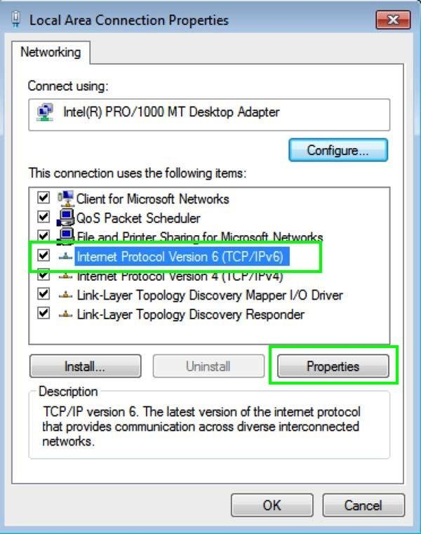 Internet protocol settings