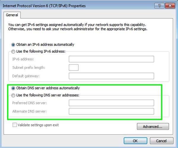 obtain DNS server automatically